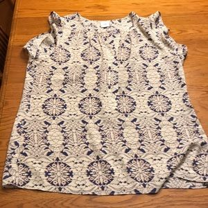 CAbi cream with navy and orange designs top